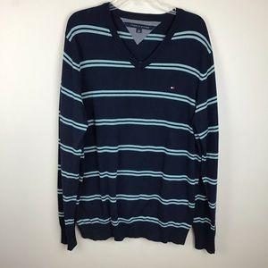 Tommy Hilfiger V-neck striped sweater in XL
